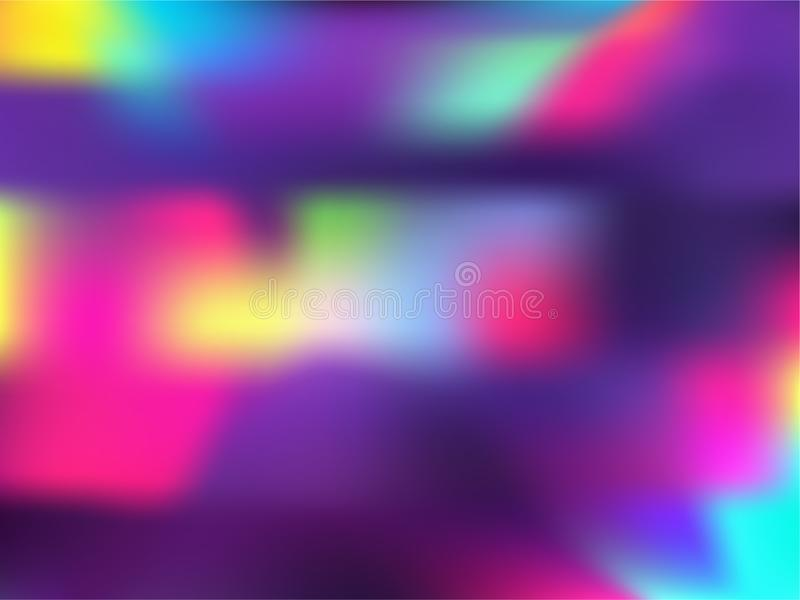 Blurred hologram texture gradient wallpaper. Fashionable neon party graphics background. Polar lights liquid colors background. Opalescence hologram neon royalty free illustration