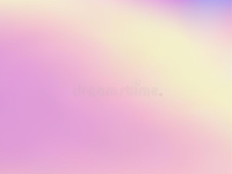 Blurred hologram texture gradient wallpaper. Fluorescent iridescent mermaid background. Liquid colors neon background. Vibrant hologram neon glitch texture stock illustration