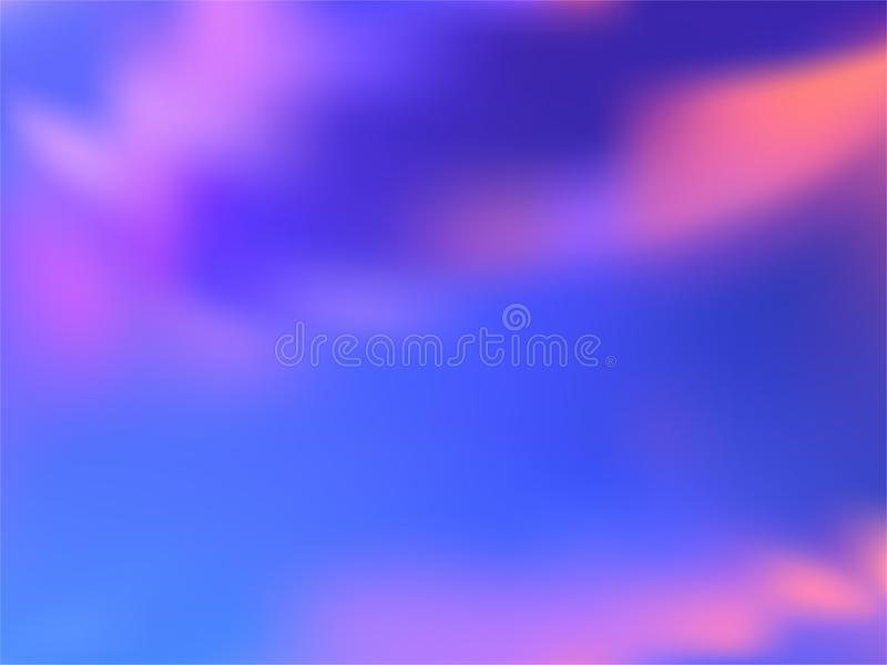 Blurred hologram texture gradient wallpaper. Glamorous neon party graphics background. Polar lights liquid colors background. Lucent hologram neon glitch stock illustration