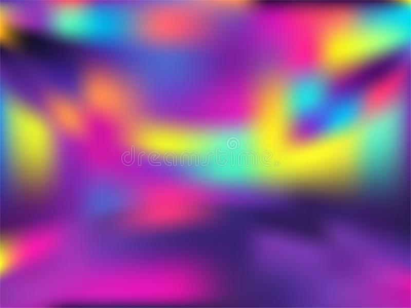 Blurred hologram texture gradient wallpaper. Liquid neon party graphics background. Polar lights liquid colors background. Lucent hologram neon glitch texture vector illustration