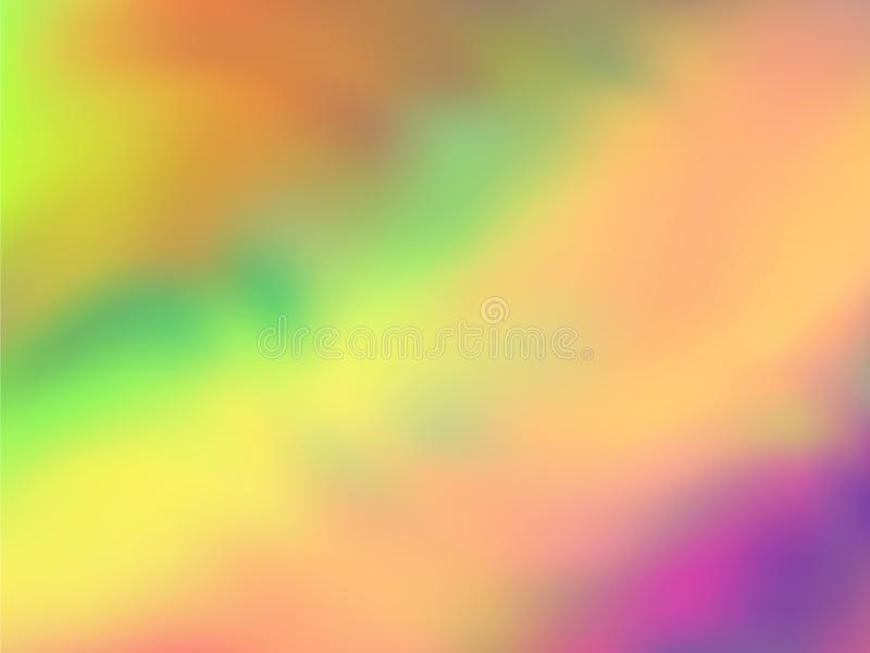 Blurred hologram texture gradient wallpaper. Soft neon party graphics background. Liquid colors neon background. Elegant hologram neon glitch texture vector stock illustration