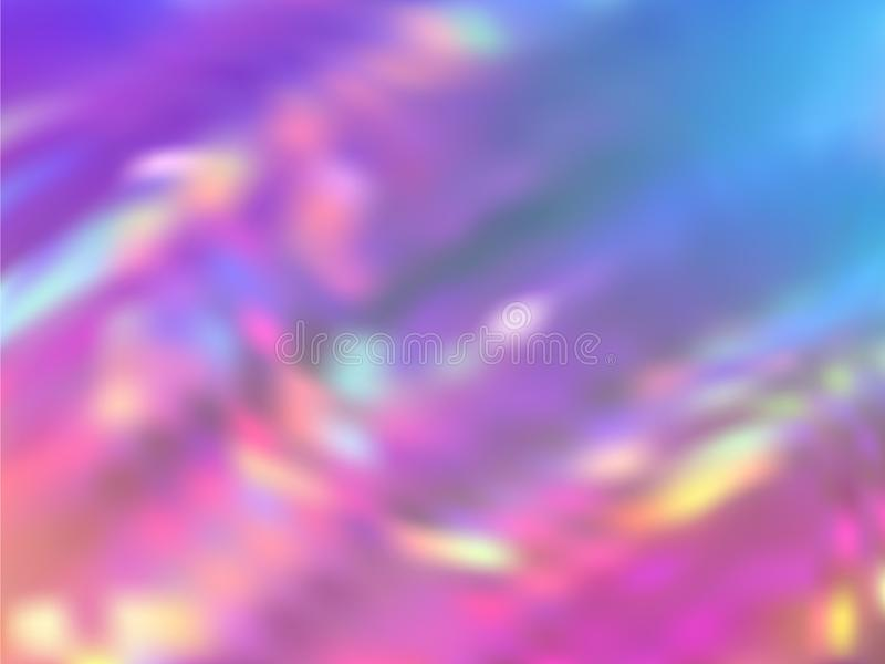 Blurred hologram texture gradient wallpaper. Translucent rainbow spectrum background. Liquid colors neon background. Vibrant hologram neon glitch texture stock illustration