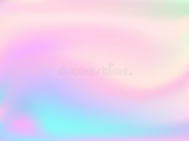 Blurred hologram texture gradient wallpaper. Vivid pastel rainbow unicorn background. Hologram colors liquid background. Refulgent hologram neon glitch texture royalty free illustration