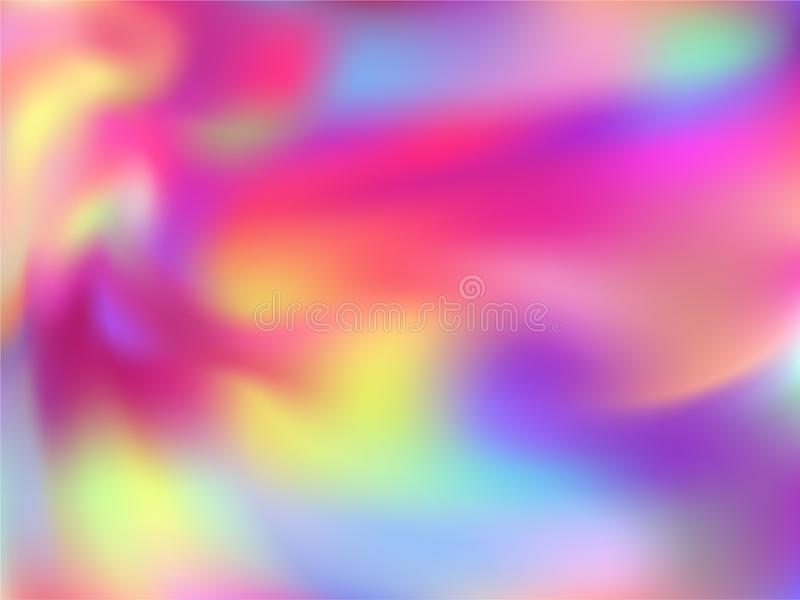 Blurred hologram texture gradient wallpaper. Psychedelic rainbow spectrum background. Liquid colors explosion background. Simple hologram neon glitch texture vector illustration