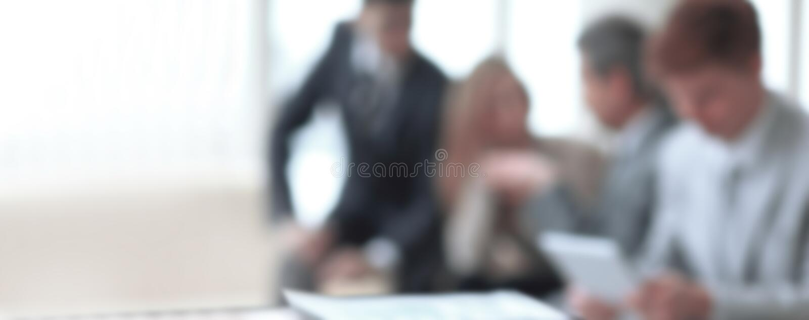 Blurred image of business team in office.business background stock photography