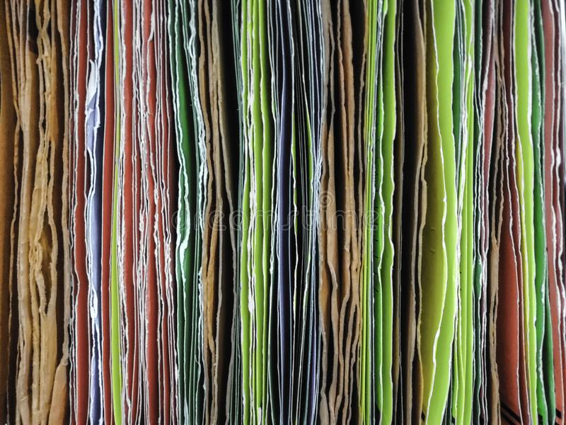 Colorful of paper file hanging for inserting documents in the office royalty free stock photos