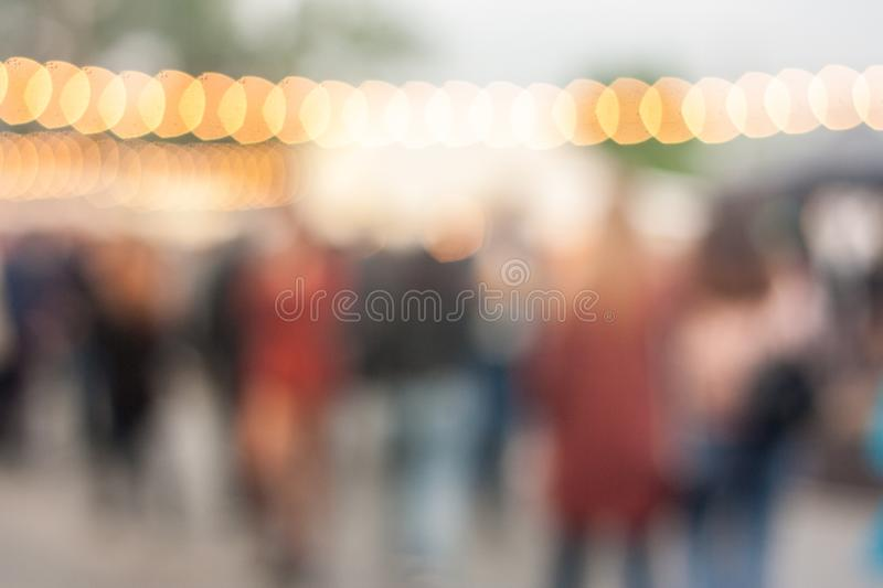 Blurred image of crowded outdoor festival background royalty free stock photography