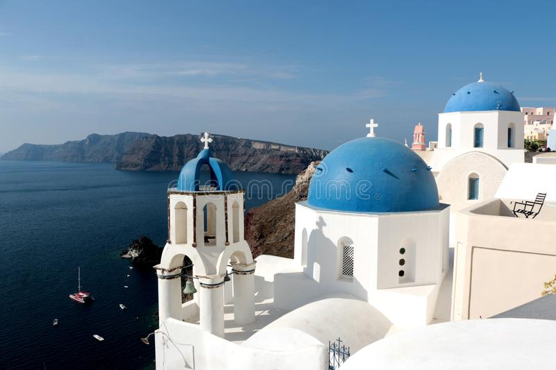 Blurred image of the famous 3 Blue Domes at Santorini.  royalty free stock image