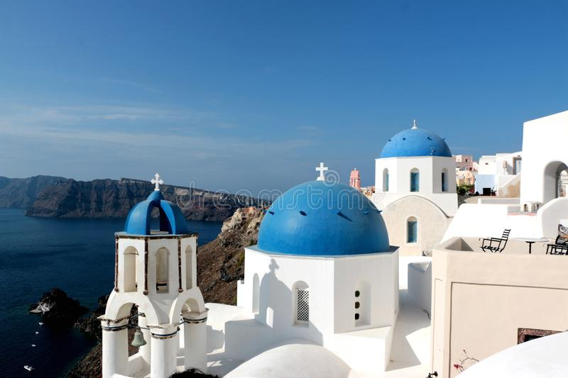 Blurred image of the famous 3 Blue Domes at Santorini.  royalty free stock photo