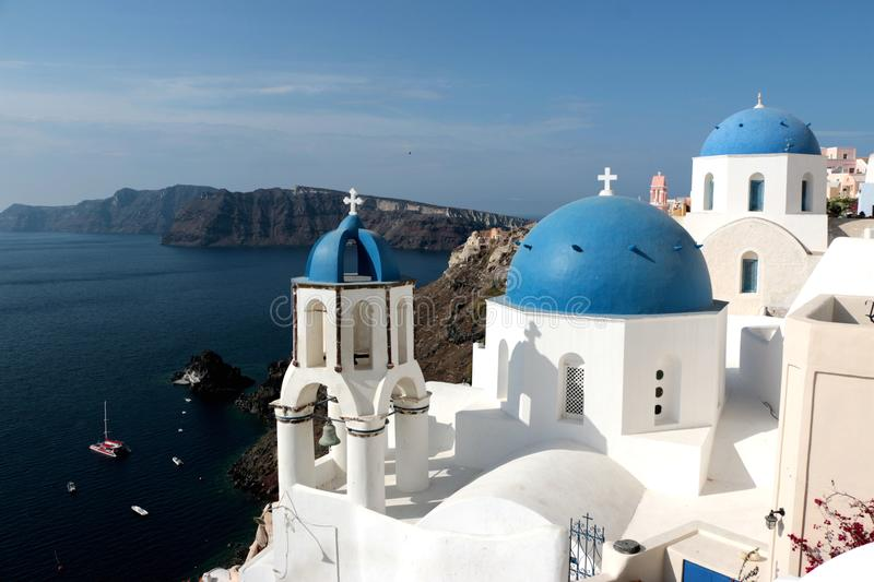 Blurred image of the famous 3 Blue Domes at Santorini.  stock photography