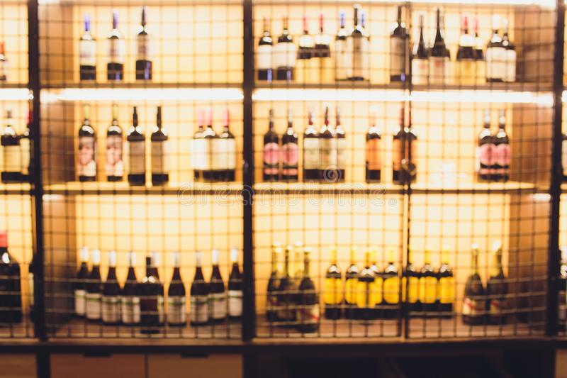 Blurred image of liquor shop for background uses. royalty free stock photos
