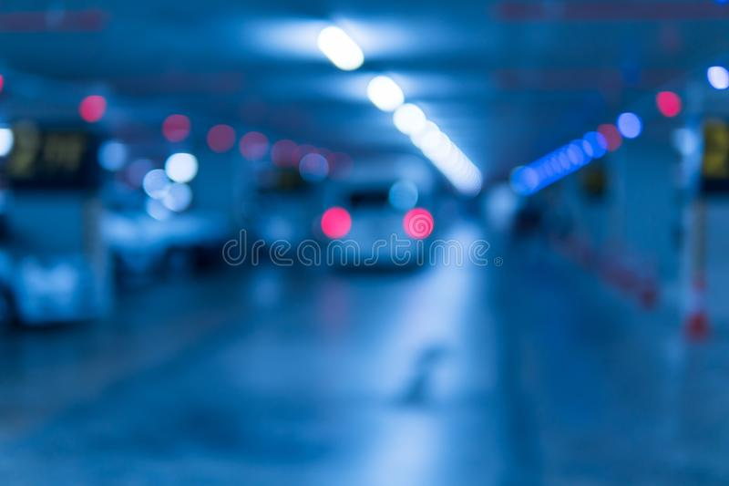 Blurred image parking garage stock image