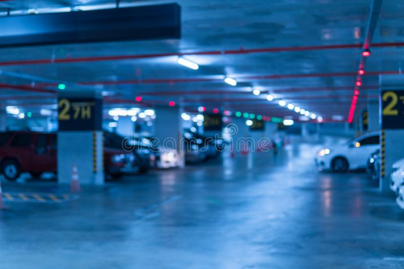 Blurred image Parking garage In the mall for background stock photos