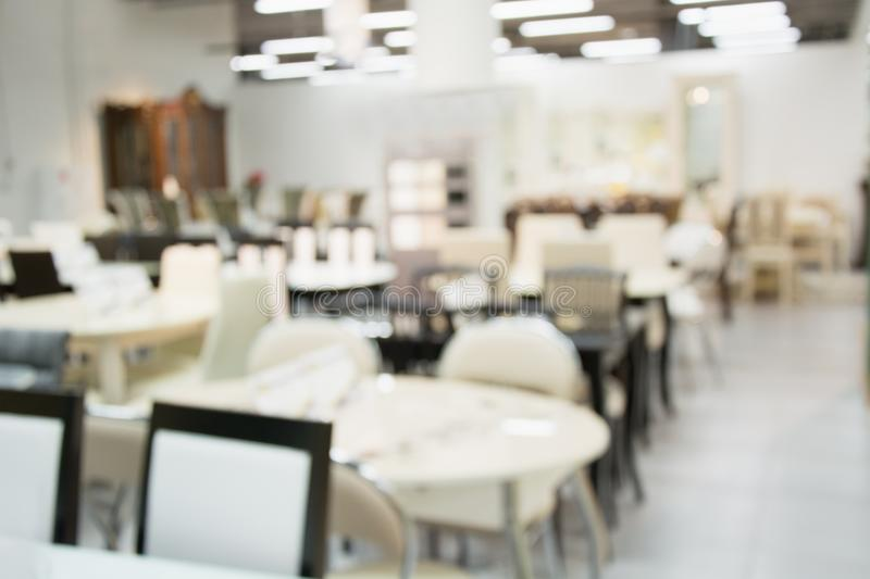 Blurred interior background. Modern ligth cafe with bokeh light. stock images