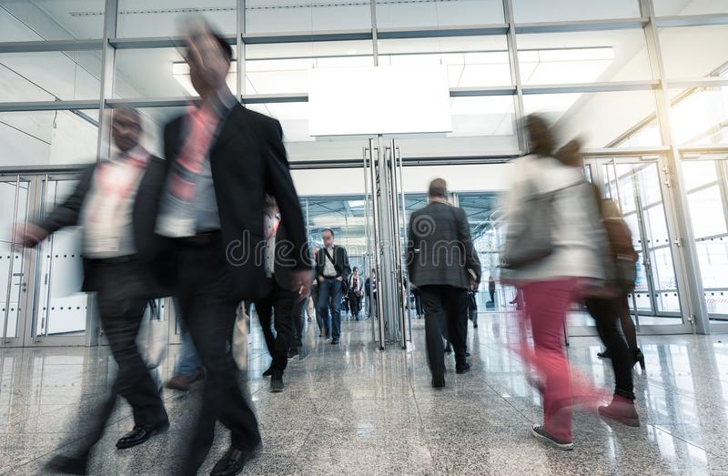 Blurred International people at a trade fair royalty free stock photos