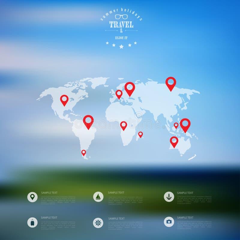 Blurred landscape background card. Travel concept with eart map. Mobile or web ui element. Web site header. Blurred landscape background card. Travel concept vector illustration