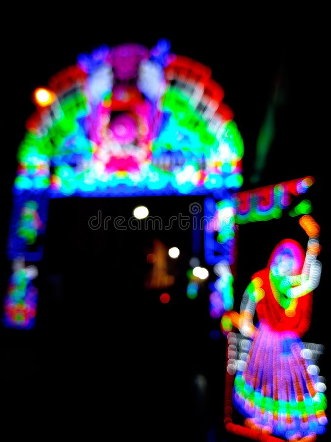 Blurred LED Lights Made Decoration for Diwali royalty free stock photography