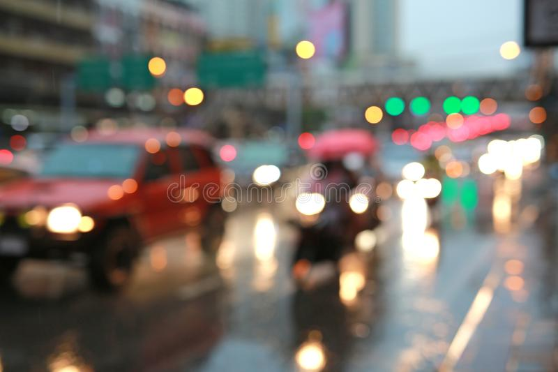 Blurred light of bokeh from car light on the traffic road royalty free stock image