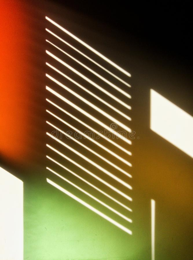 Blurred of light and shadow on the white wall. stock photo