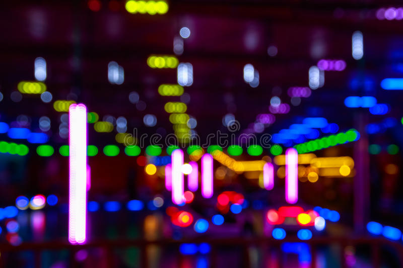 Blurred Lights Of A Funfair. Creating a futurist background royalty free stock image