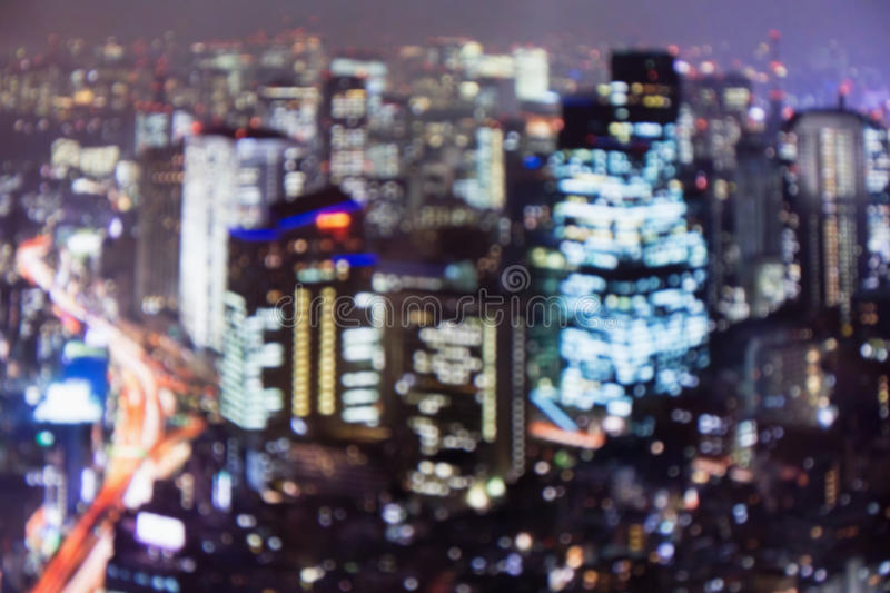 Blurred lights of night Tokyo. Abstract photo stock images