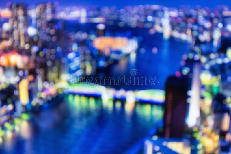Blurred lights of night Tokyo. Abstract photo stock image