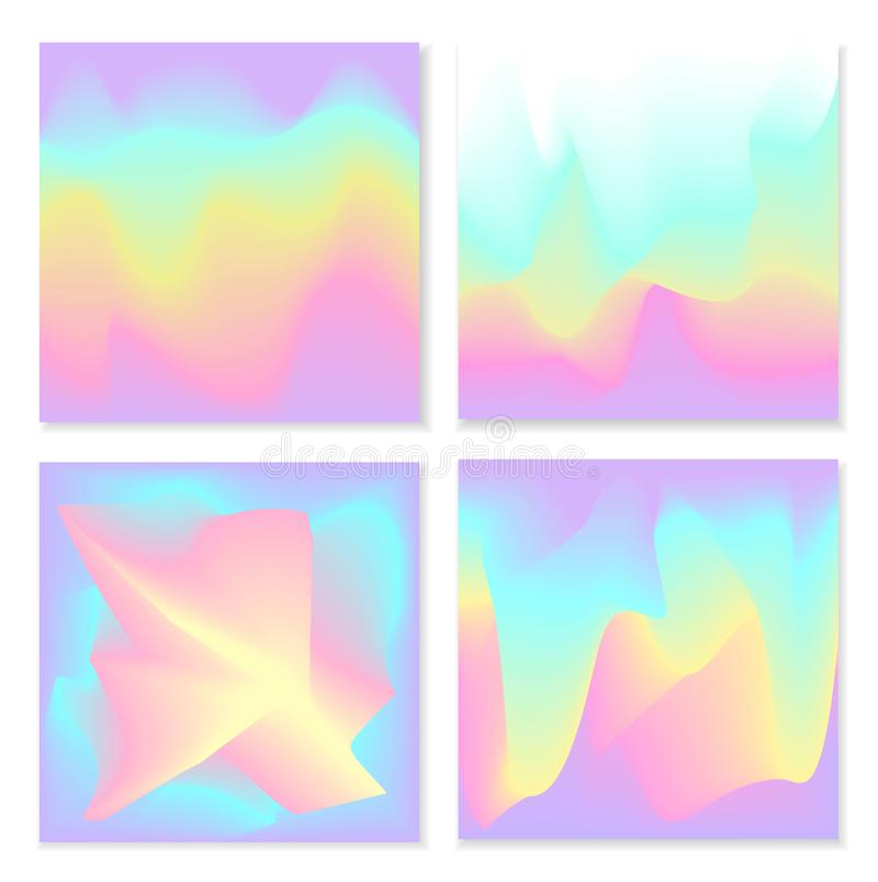 Blurred liquid electric wavy holographic futuristic abstract soft vibrant colors flow blend gradient square backgrounds stock illustration