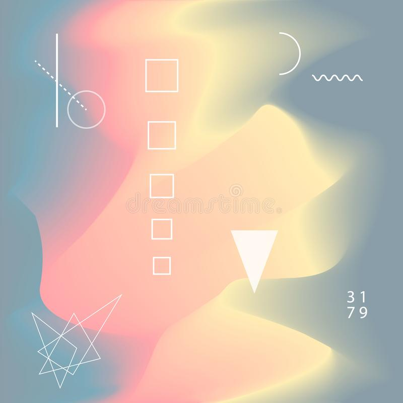 Blurred liquid wavy abstract soft colors flow blend gradient background with geometric scientific shapes stock illustration
