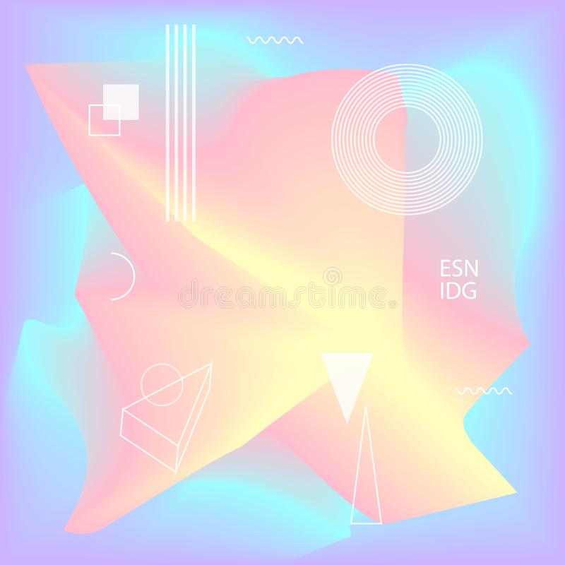 Blurred liquid wavy abstract vibrant colors flow blended shapes background with geometric scientific elements royalty free illustration