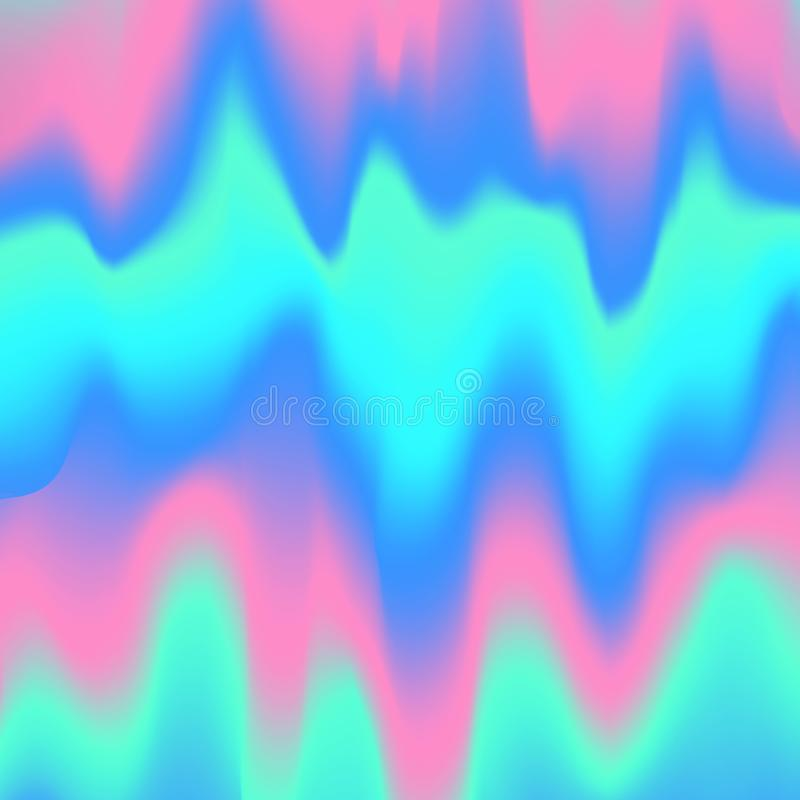 Blurred liquid wavy holographic abstract soft vibrant pink blue turquoise colors flow blend gradient vector illustration