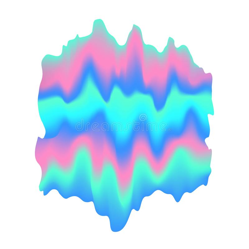 Blurred liquid wavy holographic abstract soft vibrant pink blue turquoise colors flow blend gradient quirky shape stock illustration