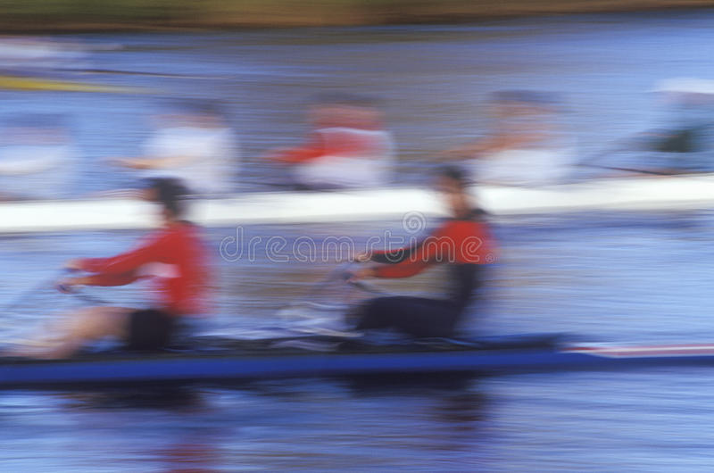 Blurred Motion Image Of Rowers Editorial Stock Image