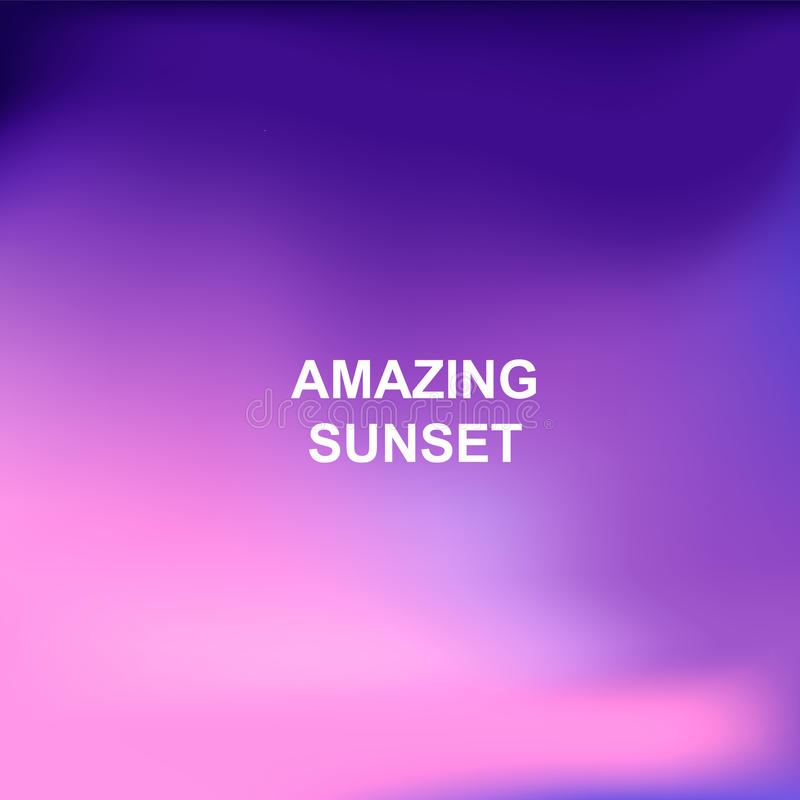 Blurred nature background. Words Amazing Sunset in the center royalty free illustration