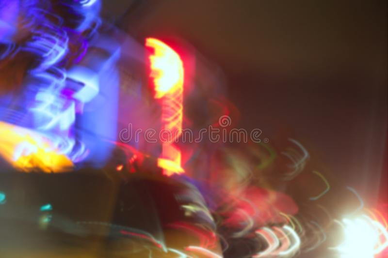 Blurred Night Colorful Lights In Miami Beach Stock Image