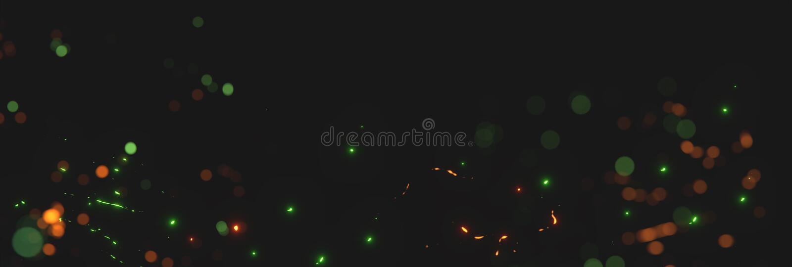 Blurred orange and green sparks from neon lights in front of black backgound stock illustration