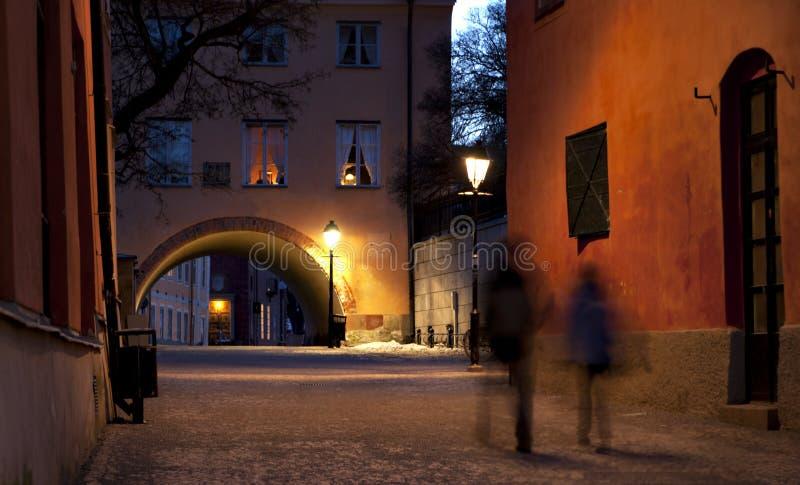 Narrow street in Uppsala stock image