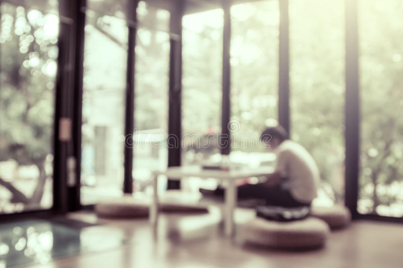 Blurred people reading a books in public library royalty free stock photos
