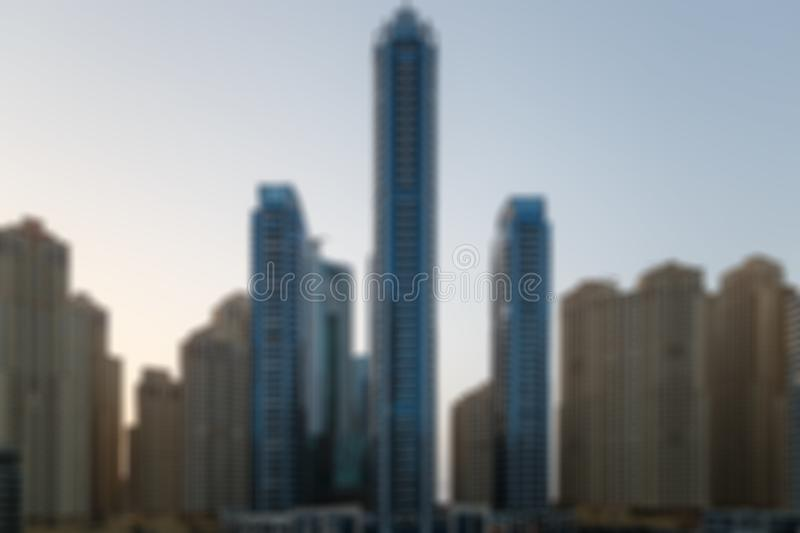 Blurred Photo, cityscape at twilight time. Big city downtown building, abstract background. Blurred image background royalty free stock photos
