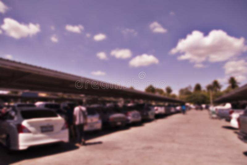 Blurred photo Department store parking in Thailand royalty free stock photos