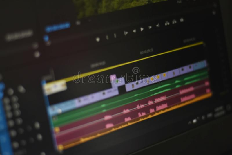 Blurred photo of Timeline video and sounds of video editing tool royalty free stock photo