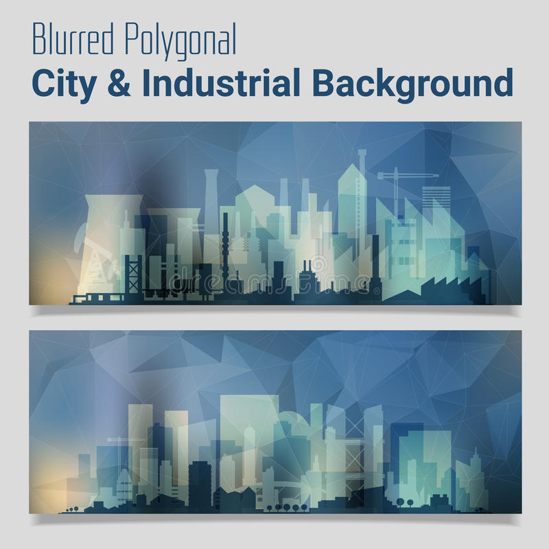 Blurred Polygonal Header Slider Webdesign Kit with City Skyline stock illustration
