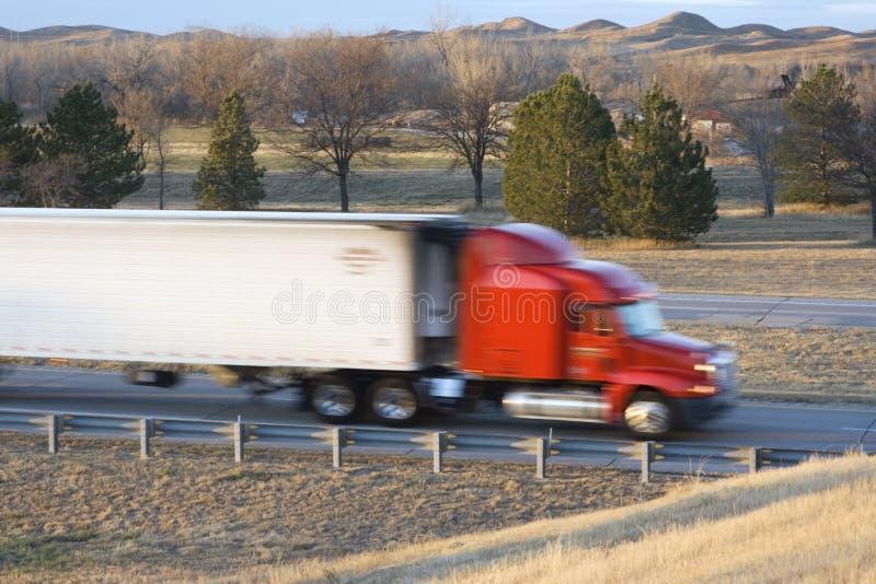 Blurred semi-truck royalty free stock photo