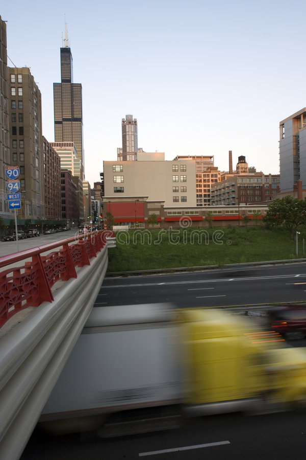 Download Blurred Semi-truck Driving In Downtown Chicago Stock Photo - Image: 4347652