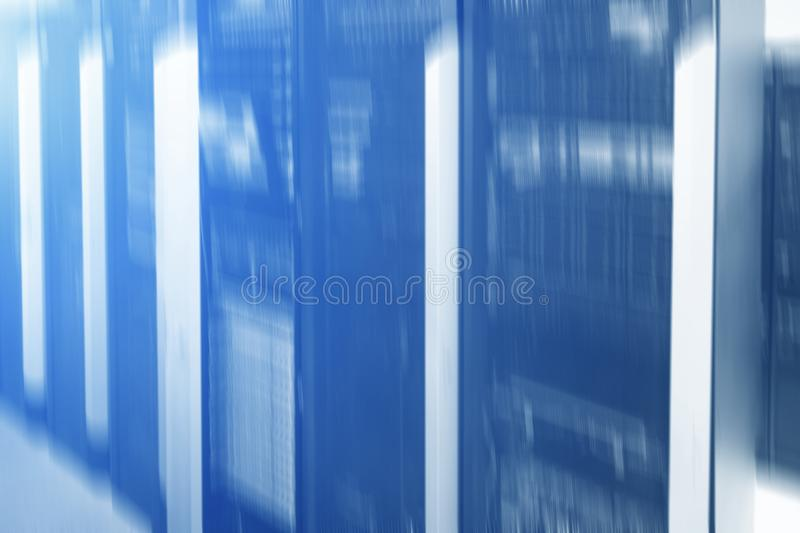 Blurred server rack. Blue light. Futuristic data center. Blurred server rack. Blue light.Futuristic data center royalty free stock photos