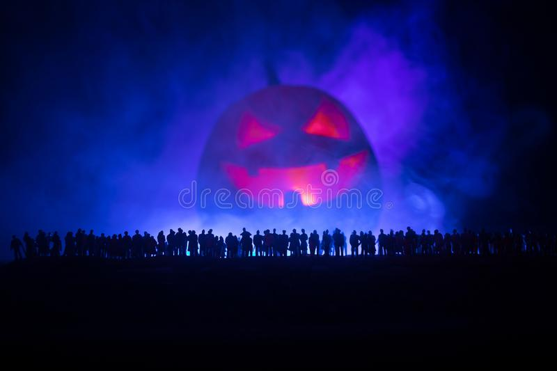 Blurred silhouette of giant monster prepare attack crowd during night. Selective focus. vector illustration
