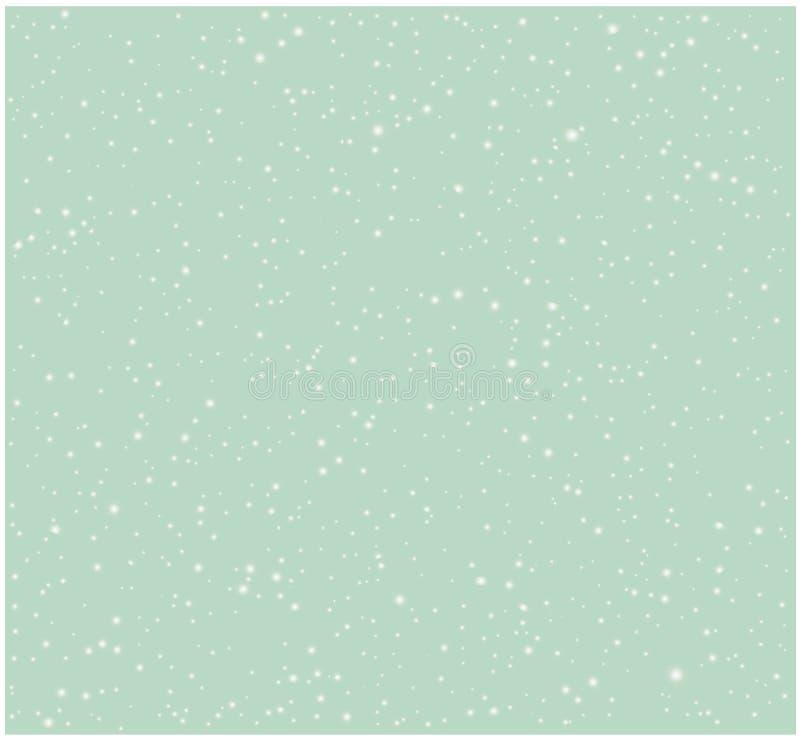 Blurred Snow flakes against vintage sky blue vector illustration seamless pattern royalty free illustration