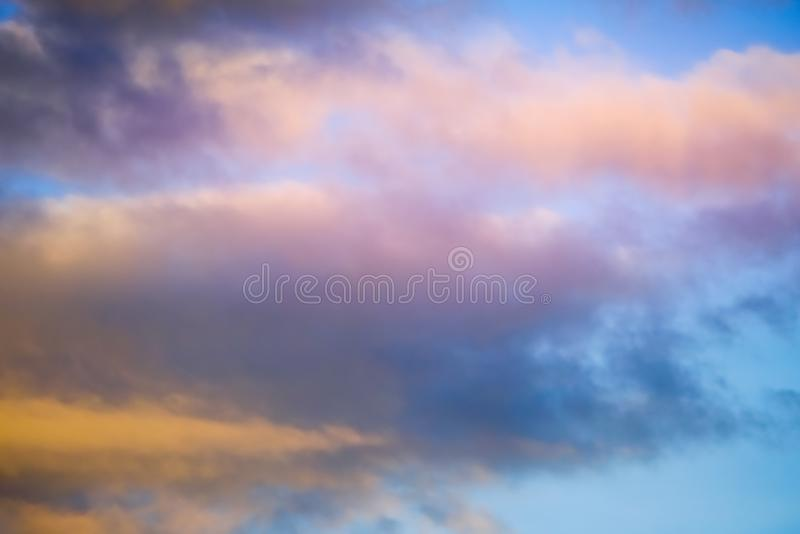 Blurred soft artistic cloudy sky, nature background. Blurred soft artistic cloudy sky, nature abstract background royalty free stock photos
