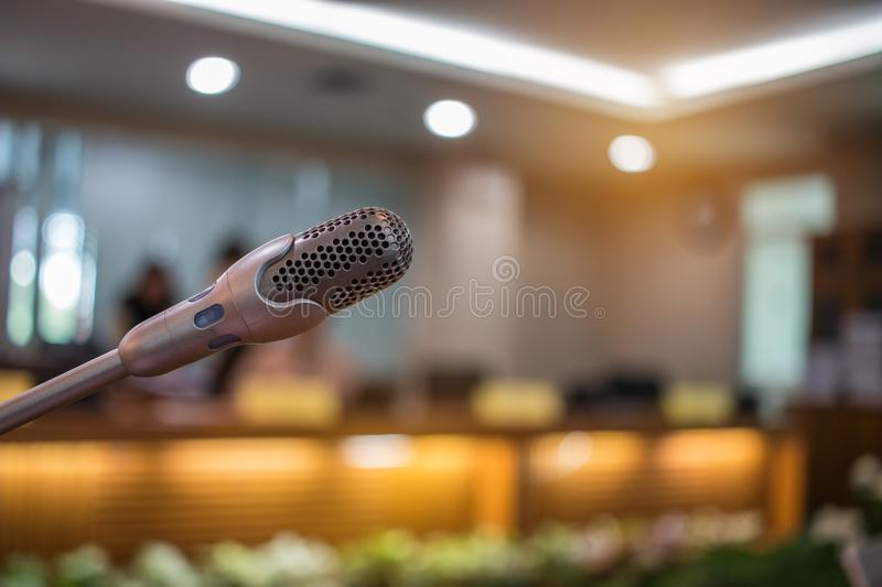 Blurred of Speaker mini mic, Microphone in Conference room or se royalty free stock photography