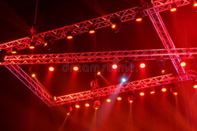 blurred Stage lights on concert or Lighting equipment with Laser stock photography