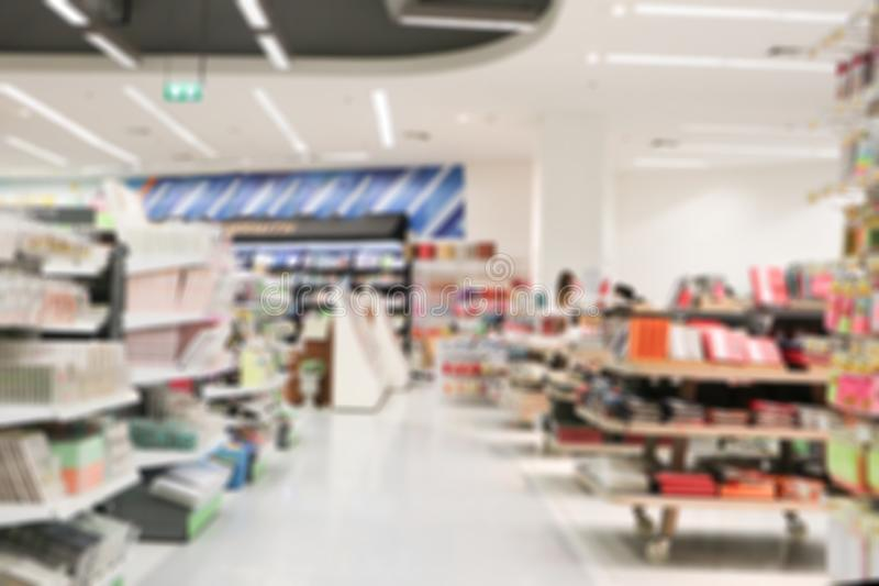 Blurred stationery store for background. blur shopping mall store interior.  stock photography